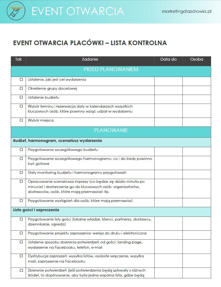 checklista eventu, lista kontrolna event otwarcia, jak zorganizowac event krok po kroku